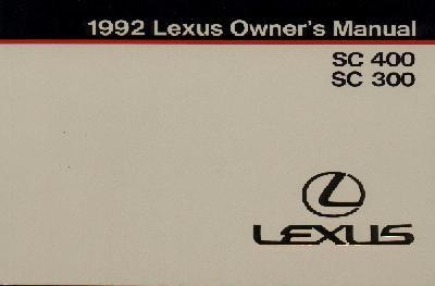 Lexus SC400/SC300 Owner's Manual